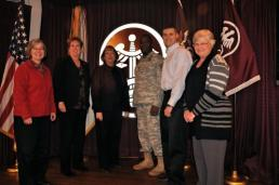 Members of Army Medical Command's Workforce 2020 Project (WF 2020) include (from left) Mrs. Debra Caraway, ATD Program Management Office; Mrs. Nancy Quick, MEDCOM Civilian Corps Specific Branch Proponent Officer (CSBPO); Mrs. Carey Klug, director, AMEDD Transformation; Lt. Col. Charles Burton, MEDCOM G1 Military Personnel; Mr. Jeff Matney, ATD Program Management Office; and Ms. Helen Edwards, MEDCOM Medical Services Portfolio manager.