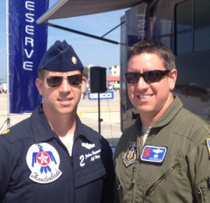 Maj. Joshua Boudreaux, U.S. Air Force Thunderbirds pilot, poses for a photo with his older brother, Lt. Col. Brad Boudreaux, a WC-130J pilot with the 403rd Wing's 53rd Weather Reconnaissance Squadron. (Courtesy photo