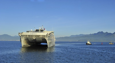 DA NANG, Vietnam (Aug. 17, 2015) – The Military Sealift Command joint high speed vessel USNS Millinocket (JHSV 3) arrives in Vietnam, Aug. 17. Vietnam is the fifth stop for Millinocket and embarked Task Force Forager. Millinocket and embarked Task Force Forager are serving as the secondary platform for Pacific Partnership, led by an expeditionary command element from the Navy's 30th Naval Construction Regiment (30 NCR) from Port Hueneme, Calif. Now in its 10th iteration, Pacific Partnership is the largest annual multilateral humanitarian assistance and disaster relief preparedness mission conducted in the Indo-Asia Pacific region. While training for crisis conditions, Pacific Partnership, missions have provided medical care to approximately 270,000 patients and veterinary service to more than 38,000 animals. Additionally, Pacific Partnership has provided critical infrastructure development to host nations through the completion of more than 180 engineering products. (U.S. Navy photo by Lt. j.g. Elizabeth Feaster/Released)