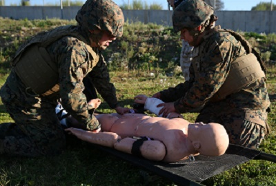 Nearly 30 Marines participated in a Tactical Combat Casualty Care course to learn how to save lives in combat situations, Dec. 14-18, on Naval Air Station Sigonella, Italy. Medical officers and corpsmen with Special-Purpose Marine Air-Ground Task Force Crisis Response-Africa taught the Marines how to apply emergency medical services to injured service members in the event a corpsman is injured or not near a casualty.The Marines and sailors are deployed to NAS Sigonella, Italy, with Special-Purpose Marine Air-Ground Task Force Crisis Response-Africa.