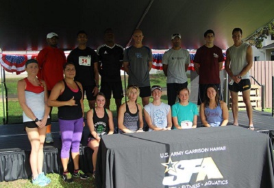 Capt. William Conkright (back row-center), Chief, Tripler Nutrition Outpatient Clinic, alongside other Hawaii based Soldiers, represented Tripler and the Army in Hawaii at the 31st annual Army Ten-Miler in Washington, D.C. on Oct. 11, 2015.  Conkright and his team mates were honored to be chosen as the team to beat at this annual running event honoring Service Members from all branches.